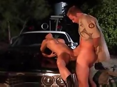 sex on a classic police car hood