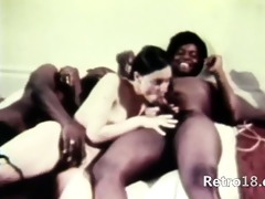 pleasing retro three-some fucking