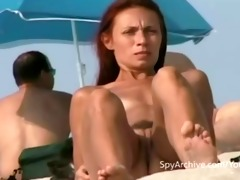 spying on hawt undressed latina at the beach