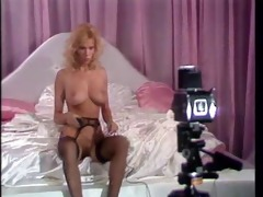 vintage blondes in a softcore photo shoot