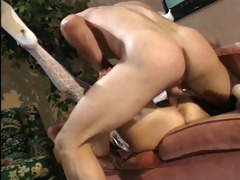 retro milf drilled deep on couch