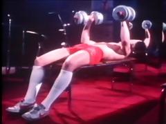 vintage homo scene with bodybuilders
