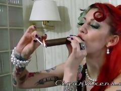 scarlett smokes a cigar