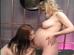 pregnant playgirl gets belly licked