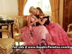 hailee and mya retro lesbos giving a kiss and
