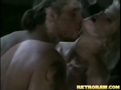 retro blonde receives fucked in the kitchen
