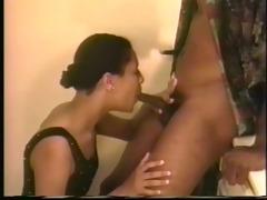 girl sucks guys dong on the bath counter