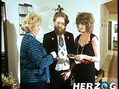 bearded retro guy enjoys a hairy snatch