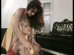 horny lesbos playing with their dildos