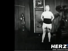 natural blonde makes a strip show in 20s porn film