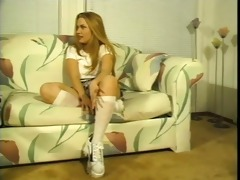 cute golden-haired bonks her softball trainer -
